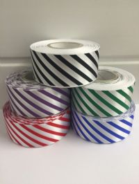 38mm Candy Stripe Ribbon Red and White 2 metres or 20 metre roll Barber Shop Diagonal